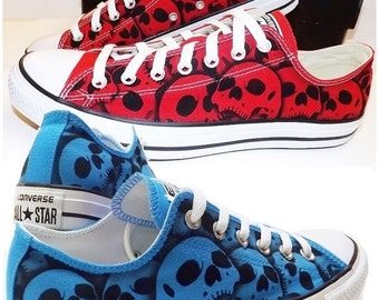 2 pair Converse Skull shoes His and Hers All Star oxfords - unique hand painted by RokGear made to order