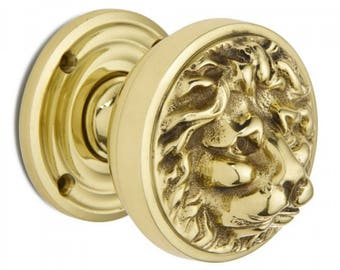 Polished Brass Gold Lion's Head Centre Door Pull Knob