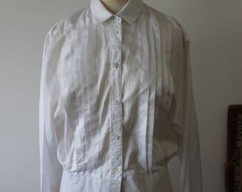 Shirt vintage white satin