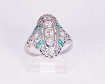 18K White Gold Filigree Emerald and Diamond Ring, size 6.75