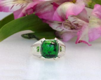 8 ct Maw Sit Sit Ring in Sterling Silver / Natural Maw Sit Sit and Green Tourmaline Style gemstone Ring / De Luna Gems / FREE SHIPPING