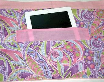 Vendor Teacher Waist Half iPad Apron Art Craft Spring Pink Purple Pastel Fabric (4 Pockets)