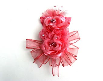Coral floral corsage, Wedding gift bow, Bridal shower bow, Pin on corsage, Gift for a Wedding, Prom corsage, Wrist corsage, Wearable corsage