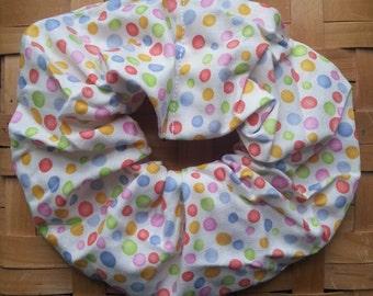 Hair Scrunchie-Pastel Polka Dots on a White Background