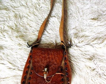 70's Vintage Hippie Leather Large Shoulder Bag Purse