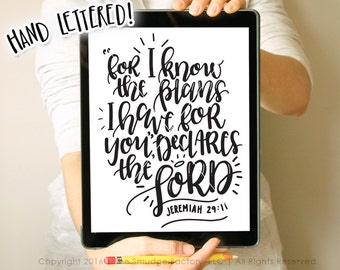 For I Know The Plans SVG, Jeremiah 29:11, Bible Verse SVG, Silhouette Cameo, Cricut, Bible Verse Printable, Jeremiah Print, Verse Cut File