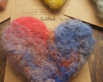 Needle felted heart brooch in blues and pinks