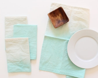 dip dyed paradise green cloth napkins table linens set of 4 housewarming gift SALE