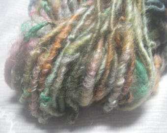 Handspun Hand Dyed Curly Textured Lincoln Longwool Art Yarn in Greens with Chestnut Pink Shades by KnoxFarmFiber for Knit Felt Weave