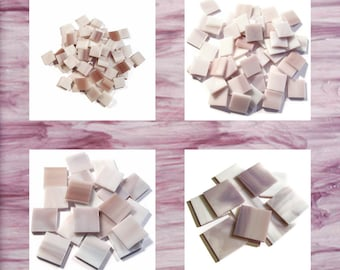 Lilac Purple Squares Stained Glass Mosaic Tiles Hand Cut Spectrum Opal