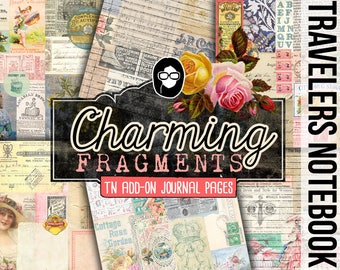 Fauxdori Inserts - Charming Fragments - AddOn - TN Journal Pages - 6 Printable Midori Insert Pages - traveler notebook, junk journal kit
