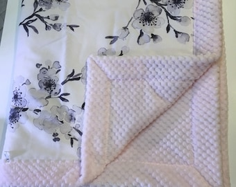 Newborn pink minky baby blanket, minky baby blanket, baby shower gift, light pink minky baby blanket, baby gift, black white floral