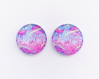 Hot Pink Dome Stud Earring Set 7ocndO4Lk