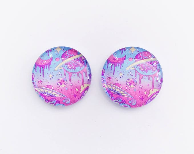 The 'Neon Galaxy' Glass Earring Studs