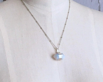 Double Point Necklace, Opalite Pendant Necklace, Gift For Girlfriend, Gift For Her, Gift for Friend, Gift For Mom
