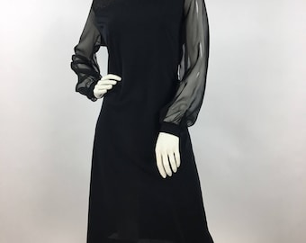1970s black windsor shift dress, 70s windsor dress sheer arms