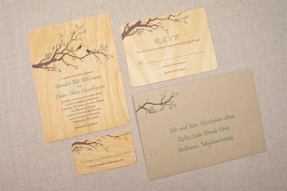 Real Wood Wedding Invitations: Real Wood Wedding Invitations Branch Love Birds