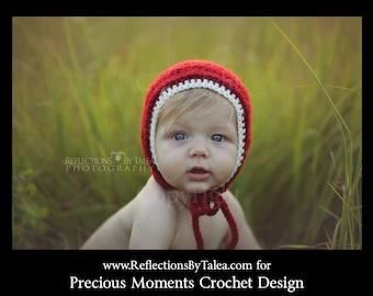 Christmas Bonnet, Newborn Christmas Hat, Red Bonnet, Baby Christmas Hat, Holidays Hat, Crochet Bonnet, Burgundy Bonnet, Newborn Photo Prop