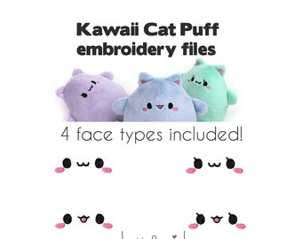 Embroidery machine files - face and eyes for Kawaii Cat Puff plush - plushie faces for stuffed animal digital download PES JEF