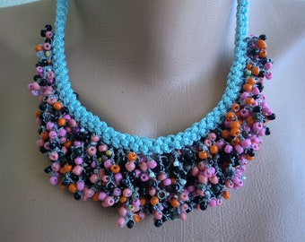 Seeds of Love  Boho necklace Light Blue , pink orange plum multicolored  necklace-Hand crocheted Necklace-Introductory price