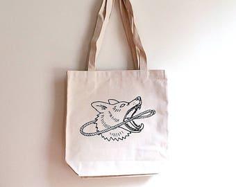 Dog & Lasso Hand Tote Bag, Carryall Travel Bag. Heavyweight Canvas w/ Gusset. Screen Print. Desert Inspired Gift. Dog Lover. Shopping Bag.