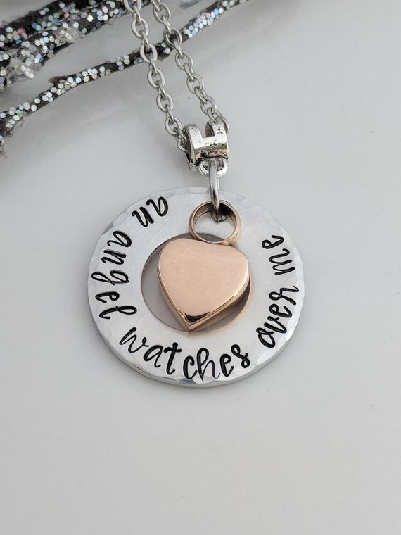 Urn Necklace- Rose Gold- Heart Urn- An Angel Watches Over Me- Cremation Necklace- Ash Jewelry- Urn Keepsake- Memorial Keepsake-Sympathy Gift