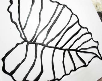 LARGE BLACK TEXTURED VISCOSE THREAD EMBROIDERED LEAF APPLIQUE ALL CARRIERS WALLS AND TEXTILE INSIDE 31/37 CM