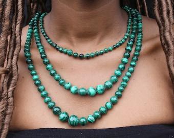 Genuine MALACHITE beaded necklace
