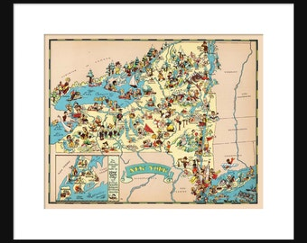 New York Map - Map of New York - Vintage Map - Print - Poster - Wall Art - Home Decor