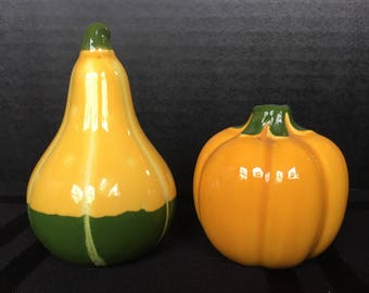 Autumn is here!  Pumpkin and Gourd Salt and Pepper set 1960s