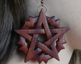 Halloween jewelry Witch jewelry pagan jewelry wiccan Pentagram earrings pentagram jewelry Pentacle earrings Wicca Witchcraft Occult gothic