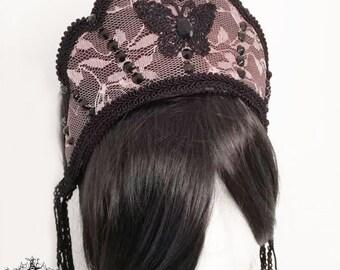 Butterfly lace kokoshnik-gothic kokoshnik-gothic headpiece-wgt-gothic crown-headpiece