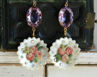 Celluloid Rhinestone Floral Embroidery earrings rose swarovski connector  statement lightweight vintage jewelry featherweight pink stunning