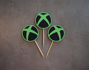 Xbox Topper, Xbox Birthday Topper, Xbox Decoration, Xbox Decor, Personalized Xbox Topper, Cupcake Topper, Video Game Cupcake Topper, Gamer