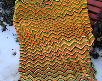 Vintage Hand Crochet Green, Orange, Mustard and Yellow Chevron or Flames Afghan or Lap Throw