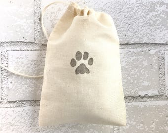 Paw Favor Bag Dog Print Muslin Bag Party Favor Wedding Welcome Baby Shower Goodie Candy Bag Cat Rustic Birthday Bridesmaid Thank You Jewelry