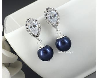 Bridesmaid Gift Navy Earrings Something Blue Mother of the Bride Gift Bridal Earrings Mother of the Groom Swarovski Earrings Dangle Earrings