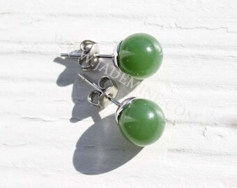 Canadian Jade Stud Earrings - Multiple Sizes