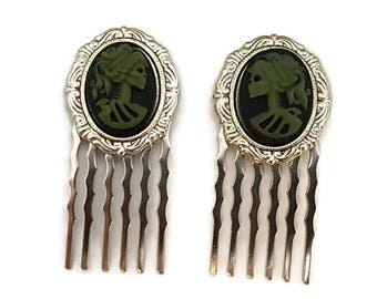 Skull Combs-Green Cameo-Gothic Lolita-Halloween Wedding-Bubble Goth-Army Green-Spooky Chic-Fashion Accessory-Teen Gift-Offbeat Bridal-Goth