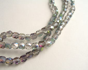 100 grey green 4mm Rainbow glass faceted beads