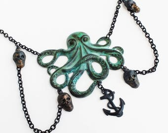 Large Octopus Necklace Verdigris Octopus Large Green Patina Cthulhu Pendant Black Skull Creepy Spooky Jewelry