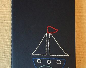 Hand Embroidered Moleskine Notebook - Sailboat