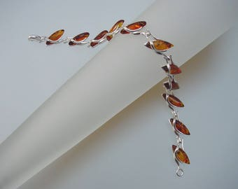 Marquise Baltic Amber Sterling Silver Bracelet - Natural Honey Baltic Amber Jewelry