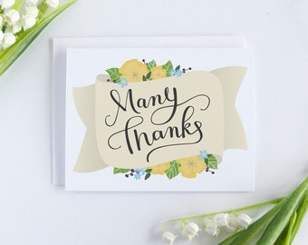 Thank You Cards, Wedding Thank You Card, Bulk Thank You Notes, Hand Lettered Thank You Card Set, Bridal Shower Thank You Cards, Printable
