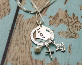 Confirmation Personalized Cross & Dove Necklace, Confirmation Gift, Cross Jewelry, Hand Stamped Cross Necklace, Personalized Cross Necklace