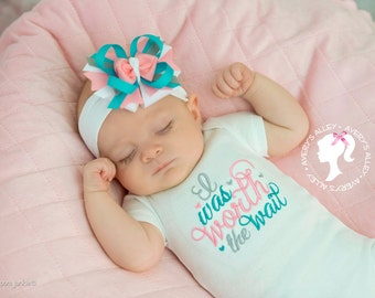 I was worth the wait - Girls Embroidered Shirt & Matching hair bow set