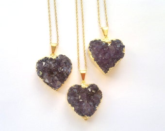 Amethyst Druzy Necklace Druzy Heart Necklace Purple Stone Necklace Druzy Jewelry Druzy Pendant Amethyst Jewelry Amethyts Layering Necklace