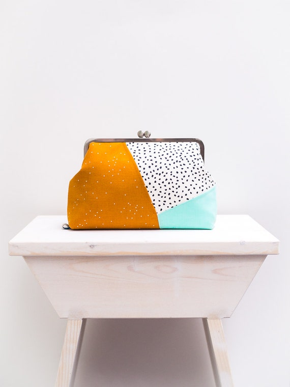 Womens Minimalist Colorblock Clutch Purse, Kiss lock Purse, Geometric Clutch Bag, Metal Frame Purse, Multicolor Clutch Purse, Mustard, Mint