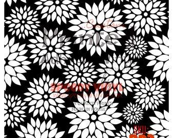 "BD2: White on Black Dahlia Printed Adhesive 12""x12"" Vinyl BD2 Craft Vinyl for Cricut Cameo Silhouette 651 Equivalent"