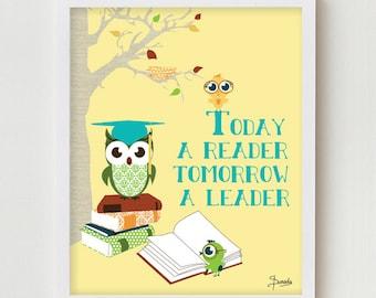 "Classroom Poster, Classroom Art Wall Decor ""Today a Reader, Tomorrow a Leader"" Reading Books Educational Classroom Decor"